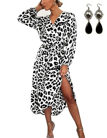 accogliente fresco diversificato nella confezione venduto in tutto il mondo BUOYDM Vestiti Donna Eleganti da Sera Lunghi Leopardato V Scollo Irregolare  Casuale Vestito Abito Maniche Lunghe Cocktail