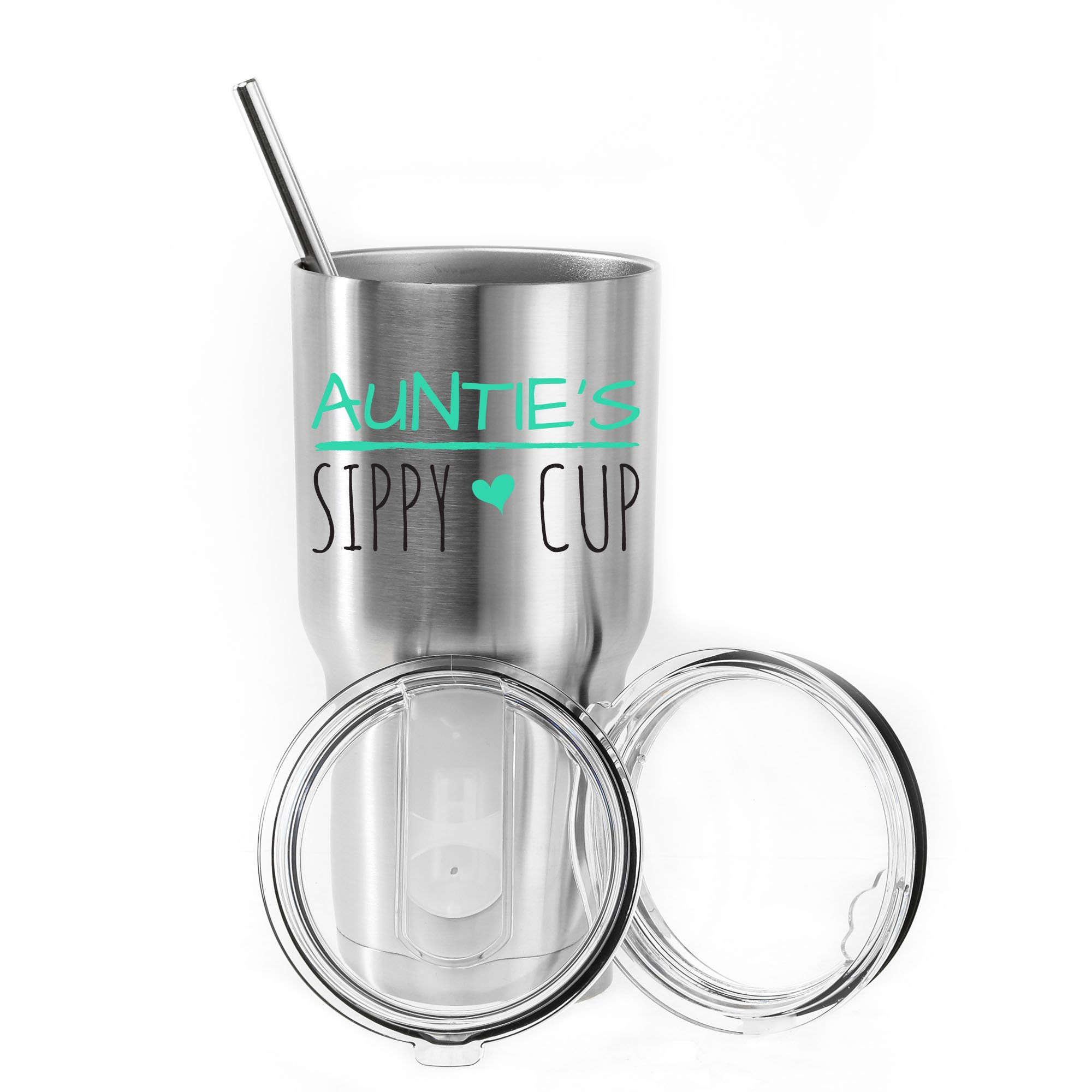 Auntie's Sippy cup 30 oz. Stainless Steel Tumbler Value Pack with 2 Lids and Extra SS Straw - Ideal Gift for Soon to Be Aunties - Proudly Screen Printed in the USA