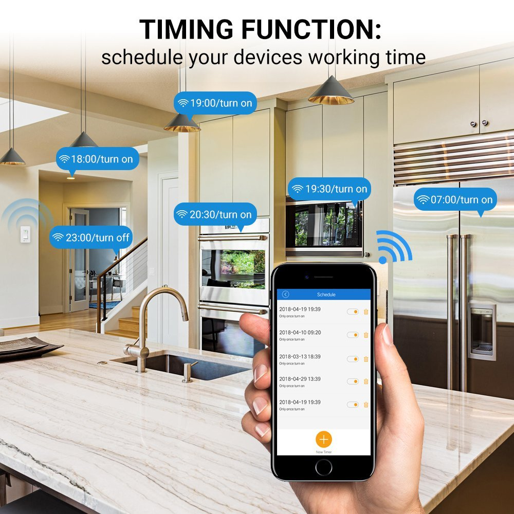 Smart Wall Switch, Houzetek Wireless Wifi Light Switch with Timing Function and Remote Control, Work with Amazon Alexa/Google Home/IFTTT, No Hub Required (PS15SA) by Houzetek (Image #4)