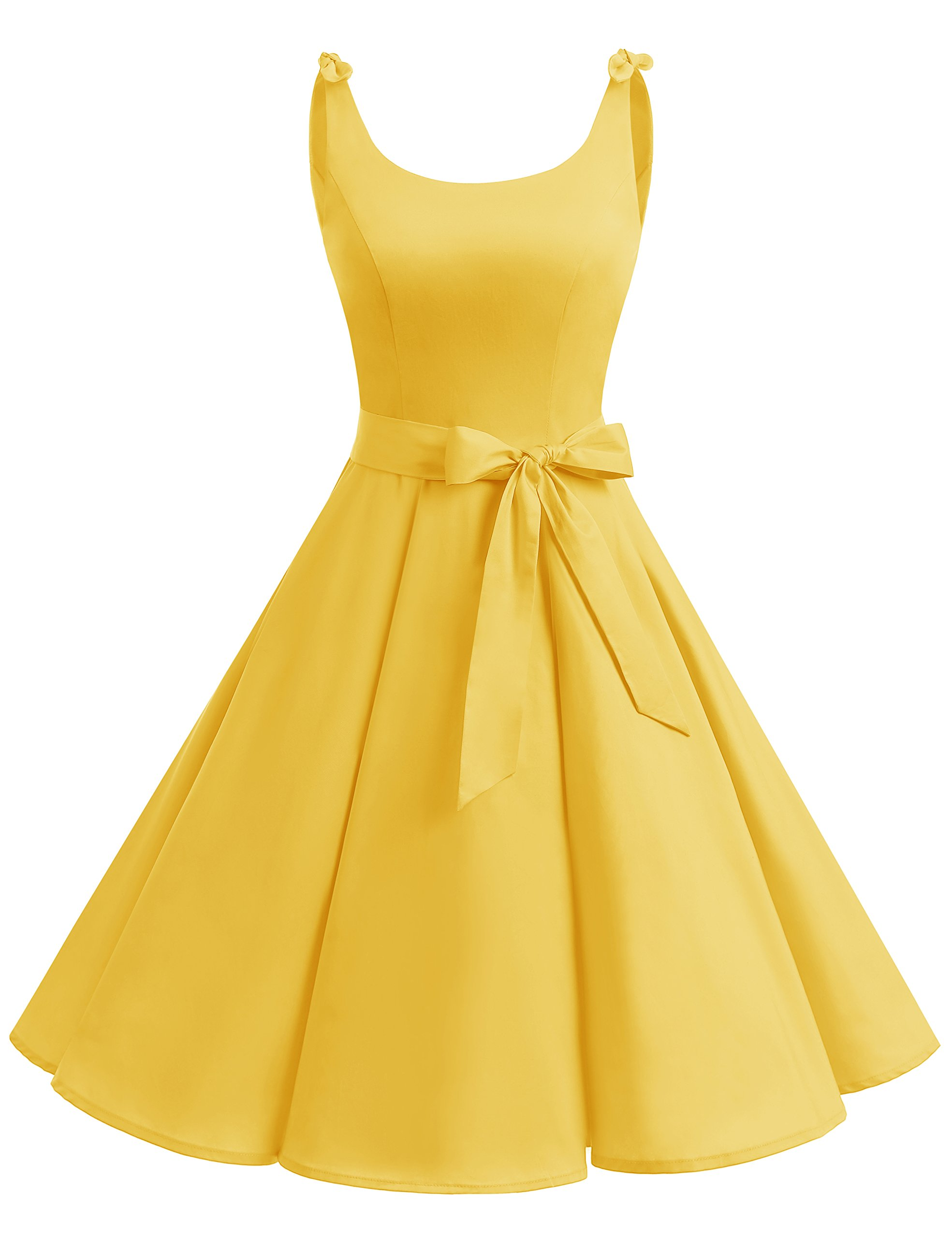 Bbonlinedress 1950's Bowknot Vintage Retro Polka Dot Rockabilly Swing Dress Yellow L by Bbonlinedress