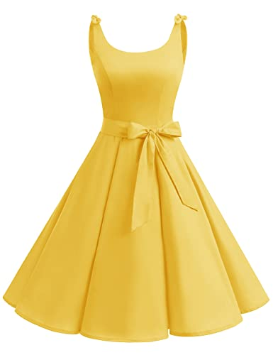 Bbonlinedress 1950's Bowknot Vintage Retro Polka Dot Rockabilly Swing Dress Yellow 3XL