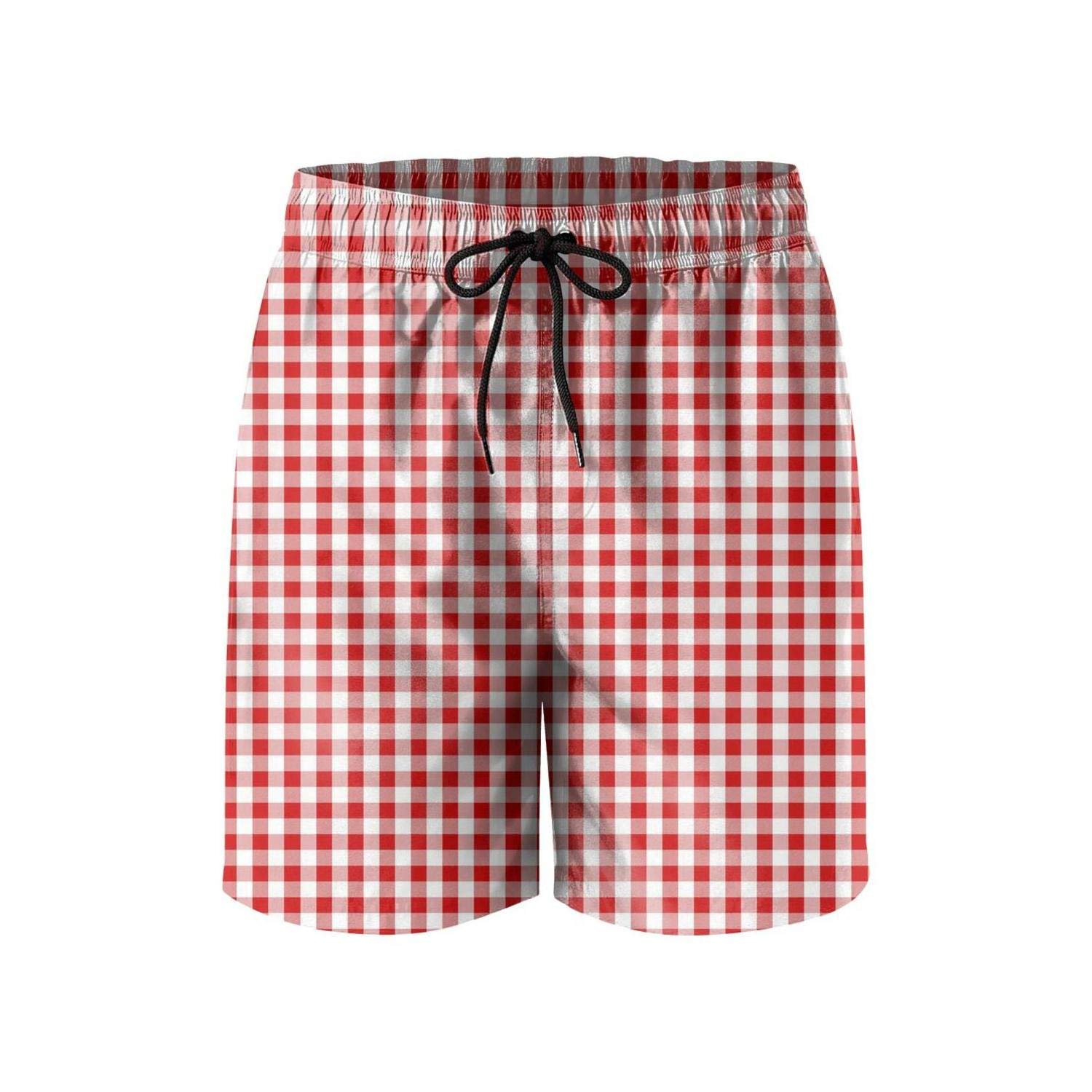Mens Core Slim Fit Absorbent Board Short-Plaid Printing Delicate red Style Beach Shorts