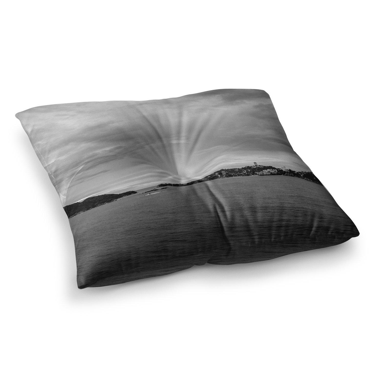 Kess InHouse Nick Nareshni Deep Cloudy Ocean Black White Photography 23 x 23 Square Floor Pillow