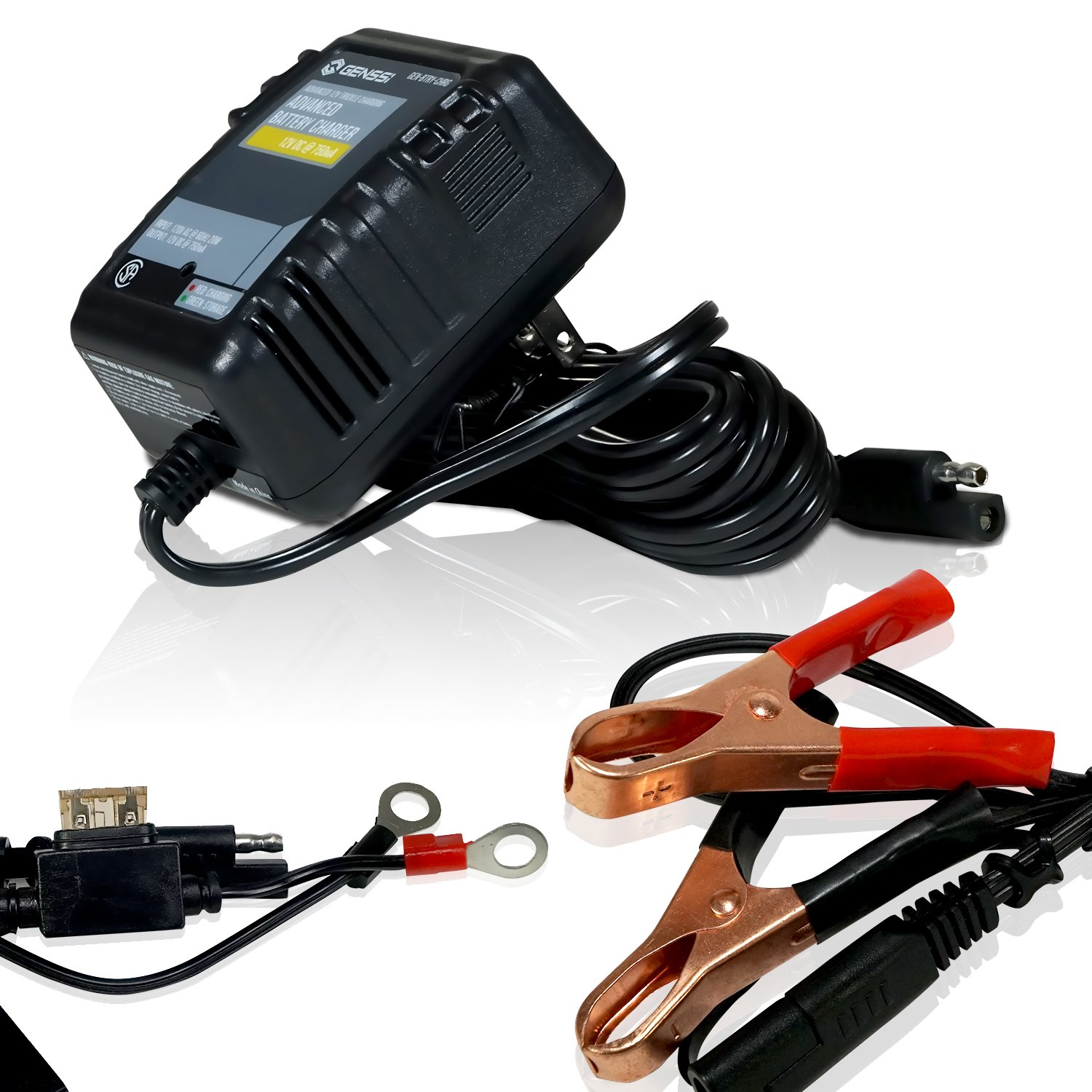 GENSSI Battery Charger Trickle Kit Compact 12V for Car Boat ATV Motorcycle