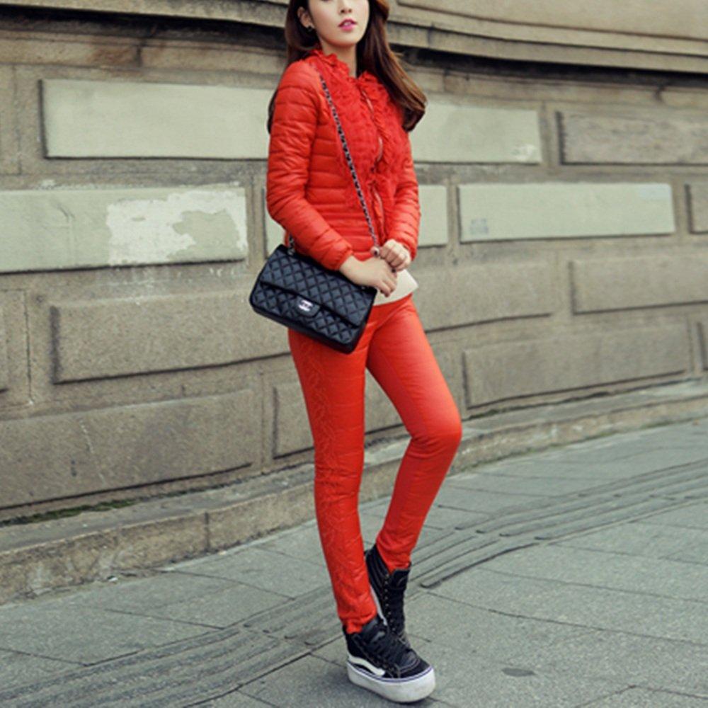 Daunenjacke QFFL Frau Short Slim Zweiteilige Daunenhose 3 Farben erhältlich Größe optional Jacke