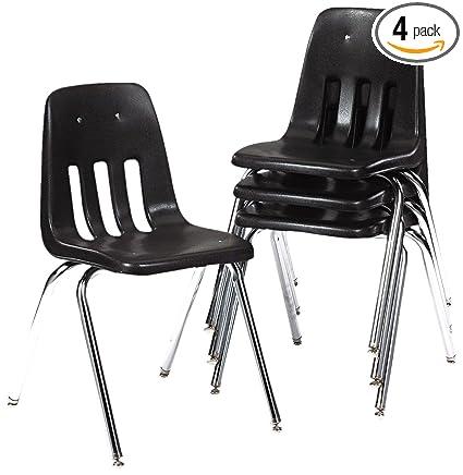 "Popular Virco Student Chair Black Soft Plastic Shell 18"" Seat Height Chrome Inspirational - black plastic chairs Plan"