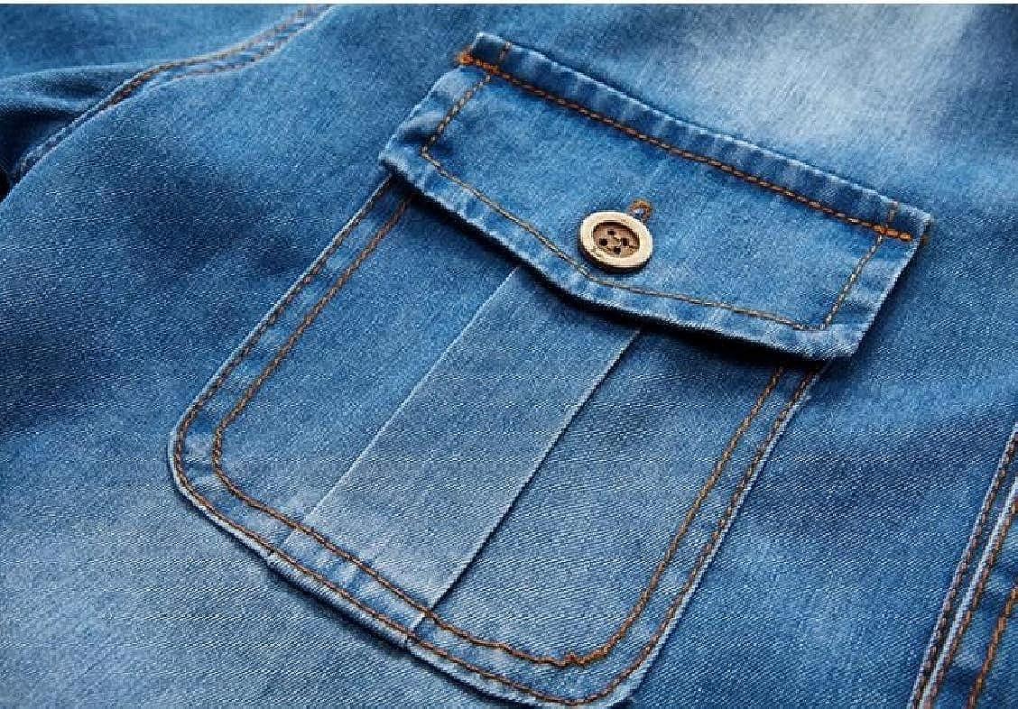 Fieer Mens Denim Washed Short-Sleeve Slim Fit Casual Dress Shirts