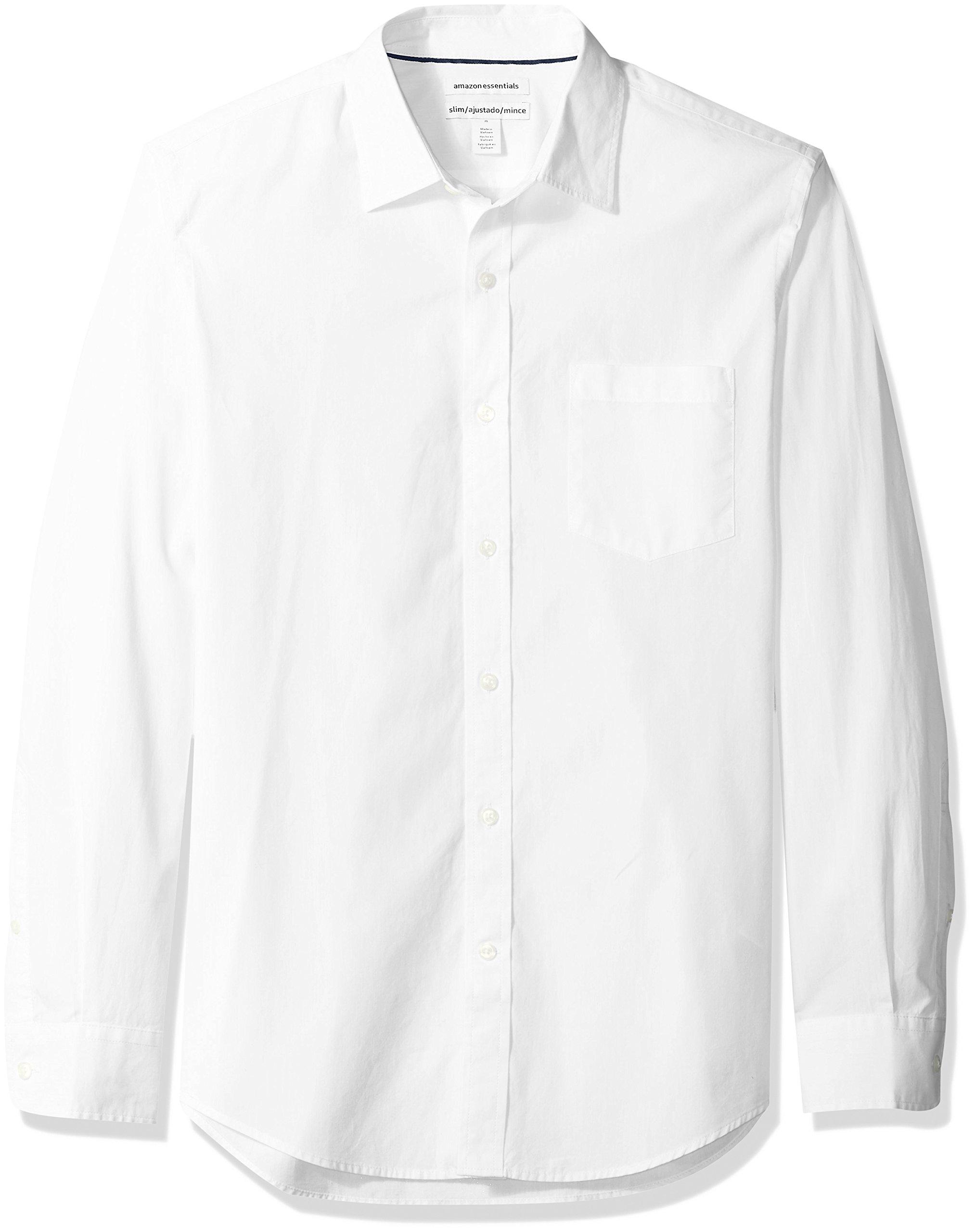 Amazon Essentials Men's Slim-Fit Long-Sleeve Poplin Shirt, White, Large