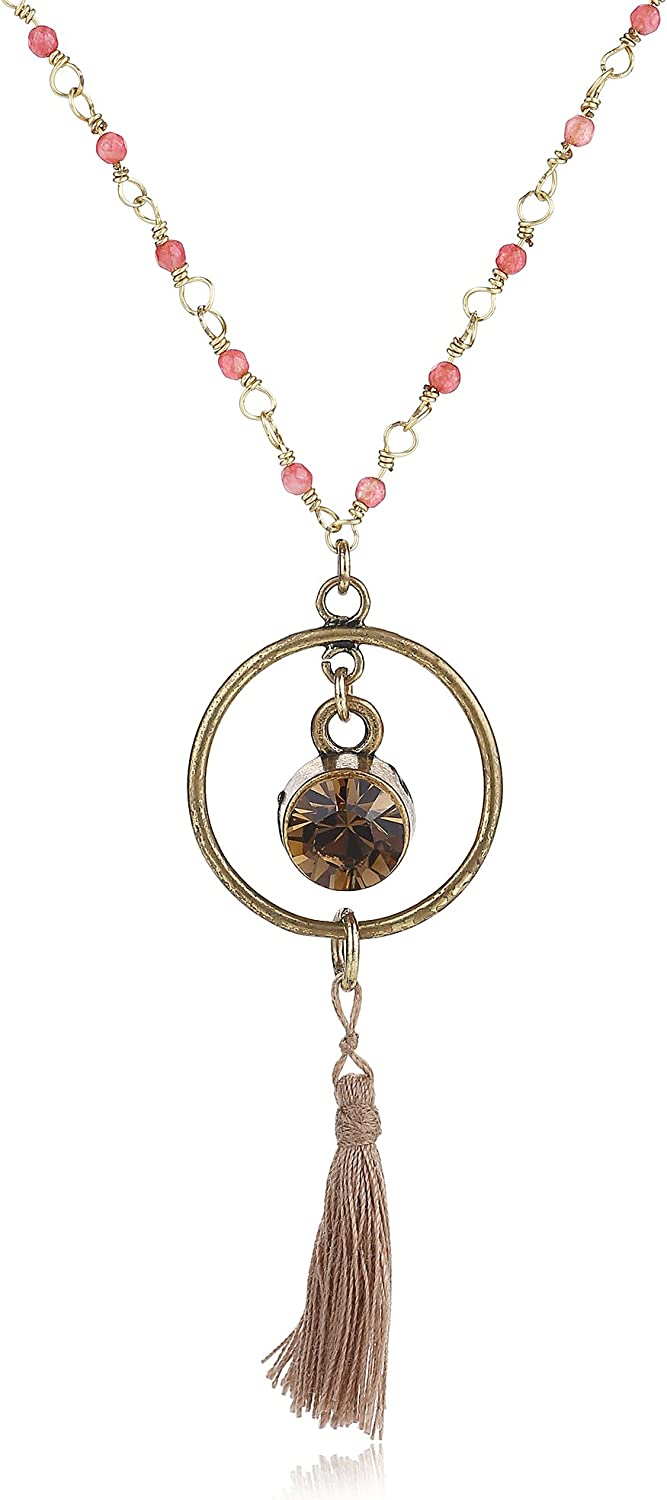 Natural Gold Plated Pendant Smoky Quartz Healing stone Jewelry For Women Handmade Fashion Necklace Beads