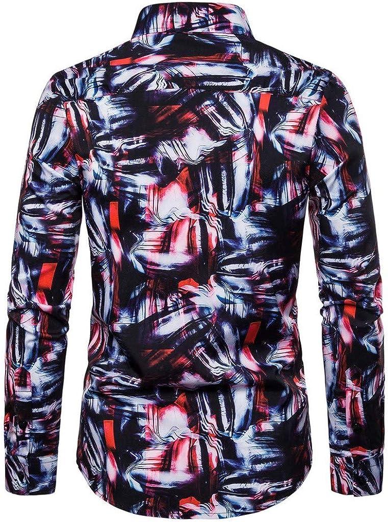 LANSKIRT Camisa Estampadas para Hombre, Camisetas Casual de Manga Larga Hippie con Botones, Ropa de Otoño Solapa Flores Slim Fit Tops T Shirt: Amazon.es: Ropa y accesorios