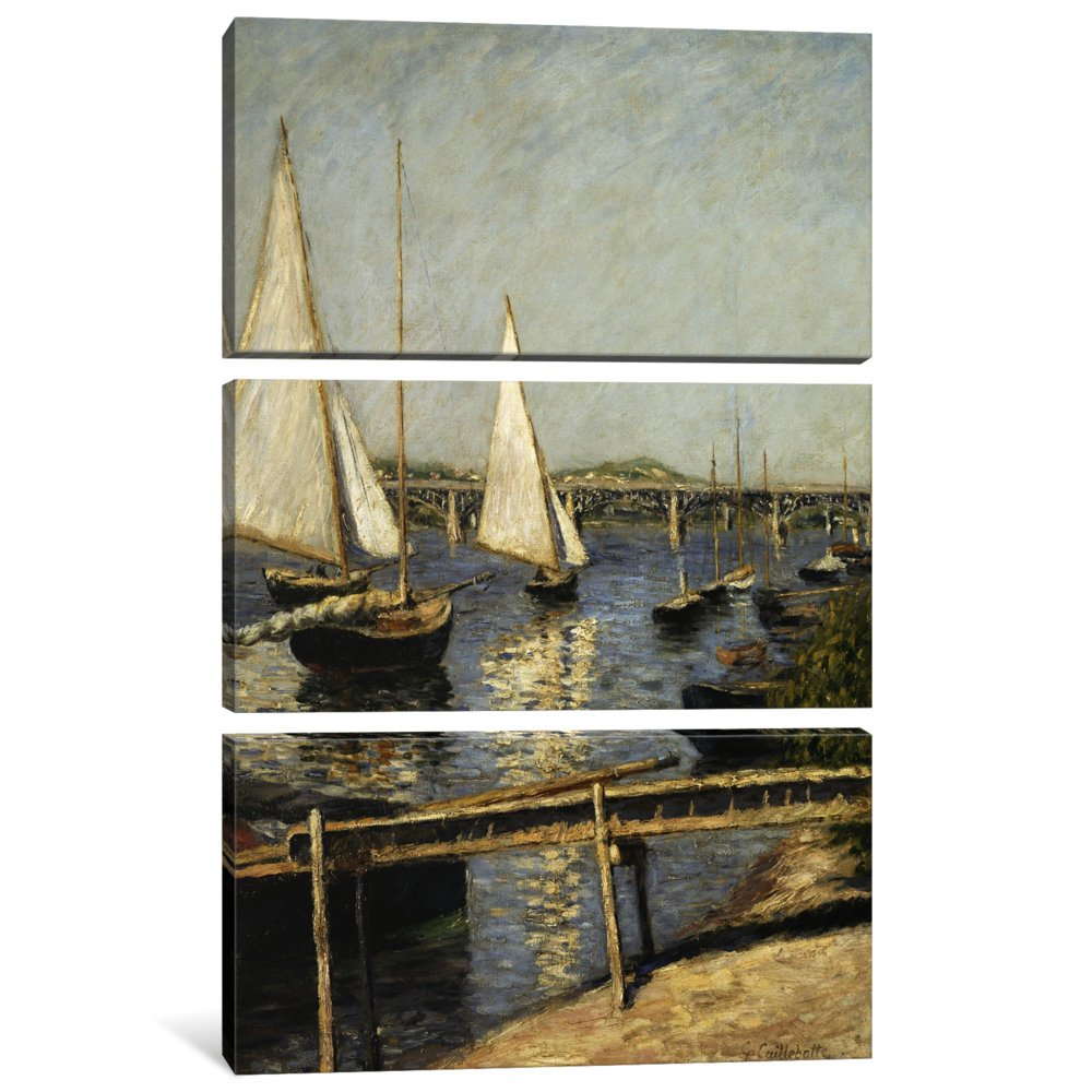 0.75 by 40 by 60-Inch iCanvasART 3-Piece Sailing Boats at Argenteuil Canvas Print by Gustave Caillebotte
