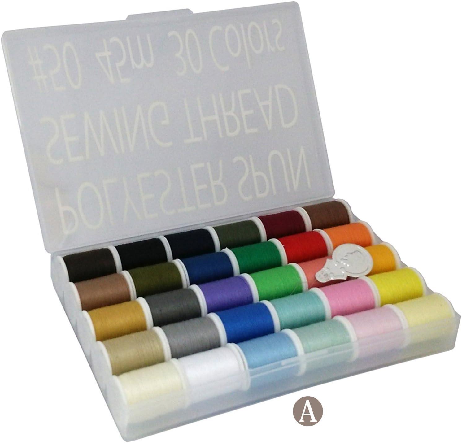 LEONIS - Hilo de coser, poliéster, 30 colores, multicolor, A.50yd x 1pc