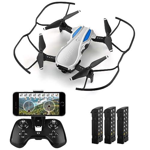 HELIFAR H1 Drone con cámara WiFi FPV 720P HD RC Quadcopter RTF Altitude Hold Drone Plegable con ángulo de cámara Ajustable Sistema Estable 2 4G Tiempo de Vuelo 36 Minutos con 3 baterías