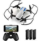 HELIFAR WiFi FPV Drone with 720P HD Camera, H1 Wide-Angle Live Video RC Quadcopter Foldable, Altitude Hold, Gravity Sensor Function, RTF and Easy to Fly for Beginner, with 3 Batteries