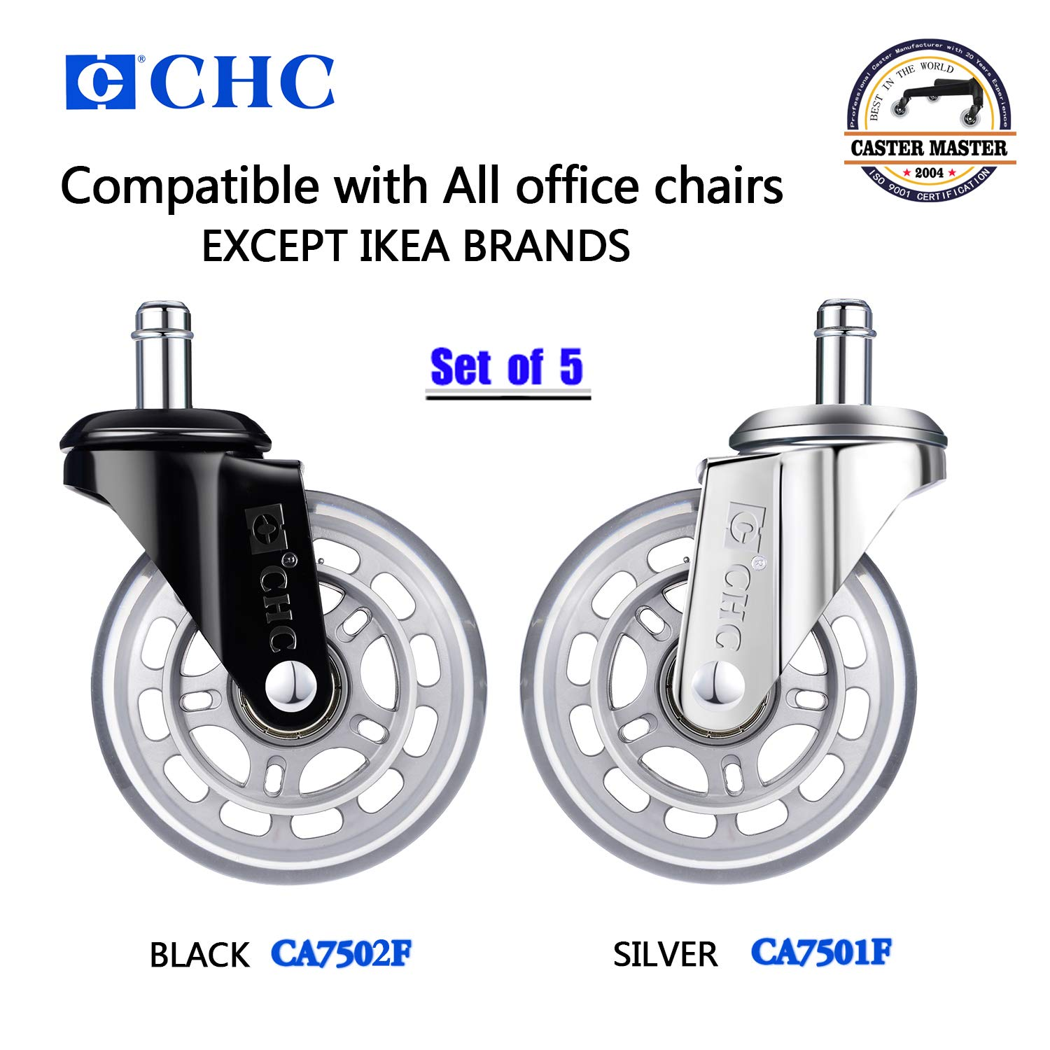 Black//Grey CA7502F Heavy-Duty 3-inch Rubber Office Chair Caster Wheels,can Safely roll All Floors Including Hardwood,no Noise,no Floor Damage,Universal Insertion casters,Set of 5