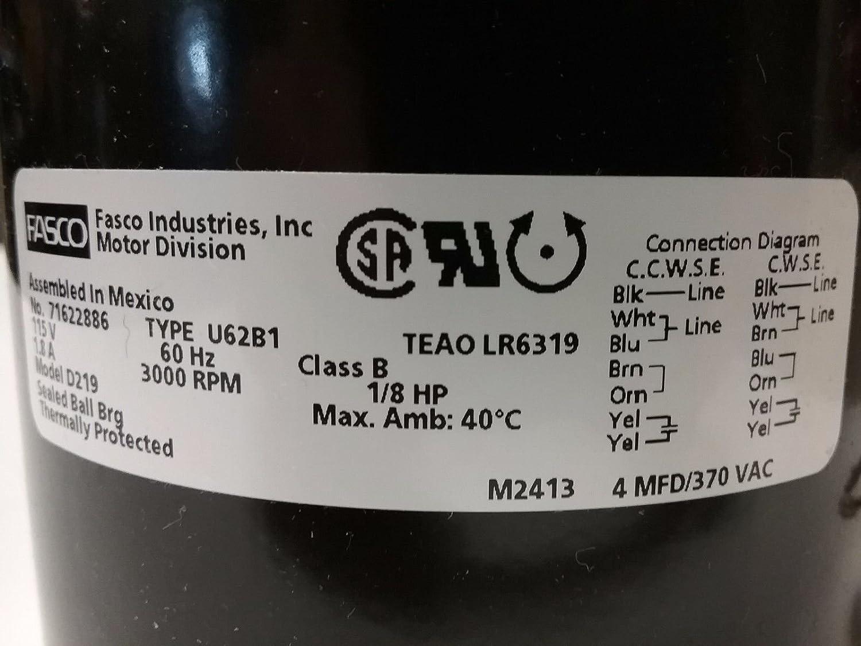 amazon com new fasco d219 1 8 hp motor 3000 rpms 115v 3 3 frame rh amazon com Blower Type U62B1 Fasco Motor Replacement Fasco U62B1 120V
