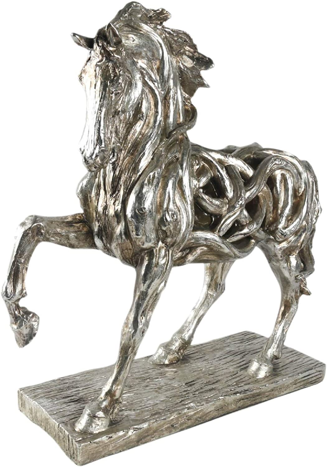 Middle-England 51cm Horse Stallion Mare Hollow Statue Figure Silver Grey Polystone Resin