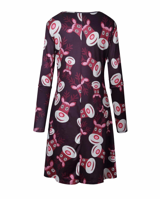3e25ad906778 GIKING Womens Christmas Dress Snowman Reindeer Skater Snowflake Novelty Swing  Dresses Wine Red UK 16 = Size 2XL: Amazon.co.uk: Clothing