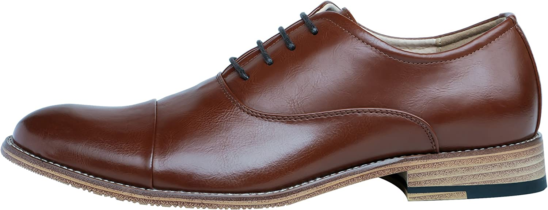 FOCUS STEP Mens Cap-Toe Oxford Shoes Simple Classic Dress Shoes