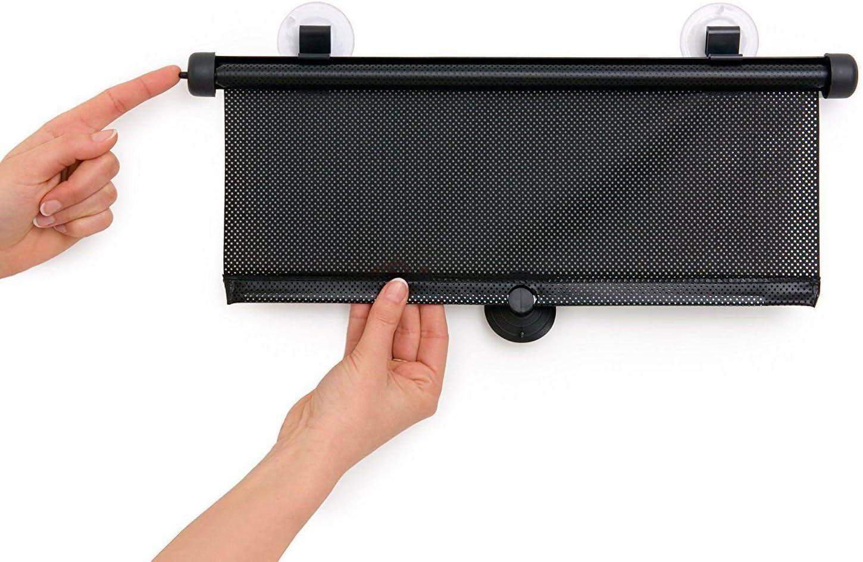 Myshopx Sonnenschutz Sonnenrollo Sonnenschutzrollo Schwarz 2er Set 55cm Für Seitenscheibe Auto