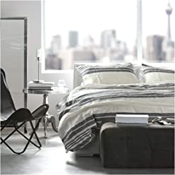Tahari Striped Yarn Dyed Washed Cotton Chambray Duvet Quilt Cover Bedding Set Home, Minimal Geometric