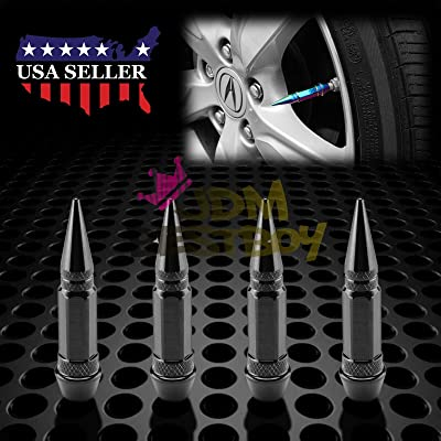JDMBESTBOY 4PCs Black Long Spike Tire Valve Stem Caps Metal Thread Wheel Tires TVC28: Automotive