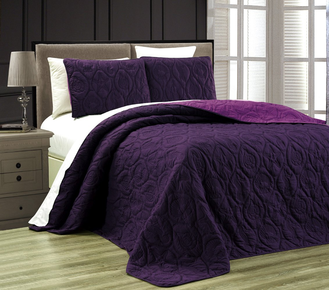 3-Piece Tropical Coast Seashell Beach (California) Cal King Oversize OVERSIZE Bedspread DARK PURPLE / LIGHT PURPLE Reversible Coverlet Embossed Bed Cover set. Sea Shells, Sea Horse, Starfish etc.