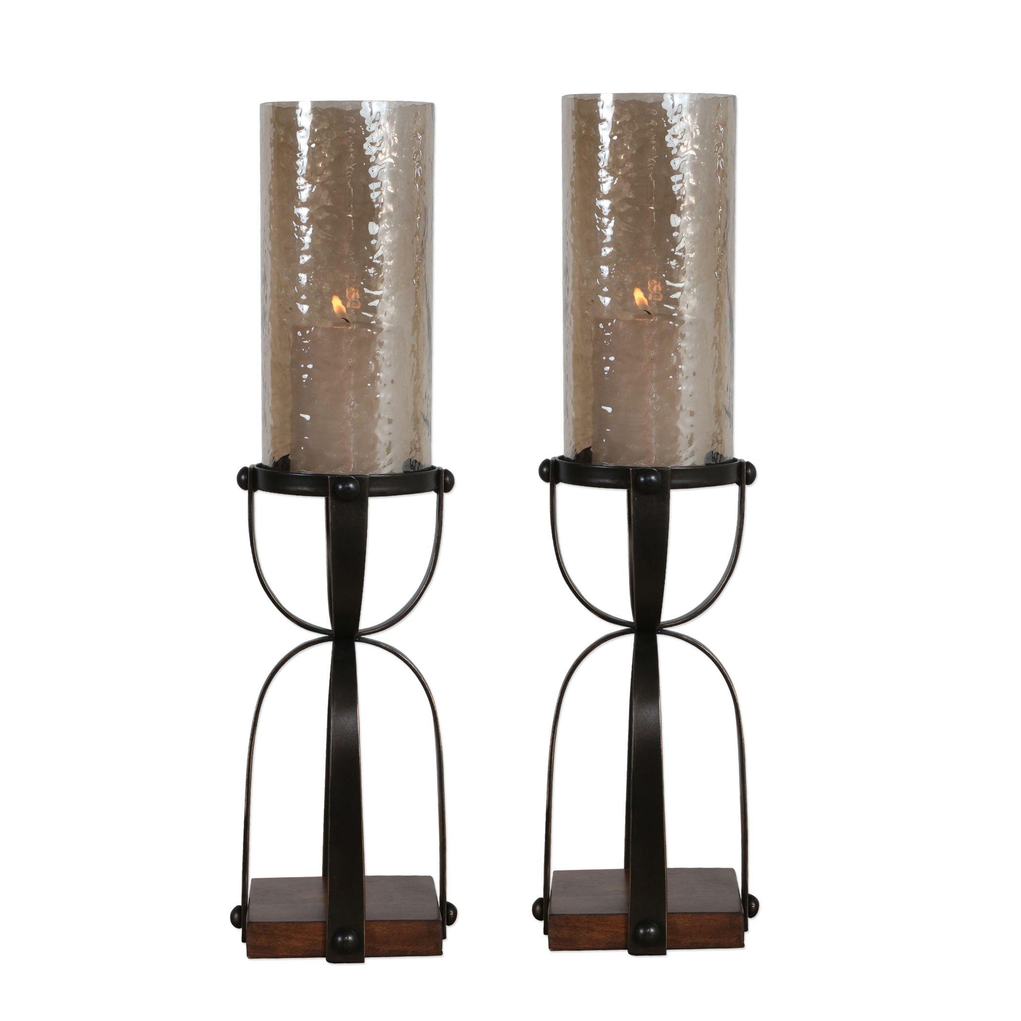 Candle Holder in Dark Bronze - Set of 2