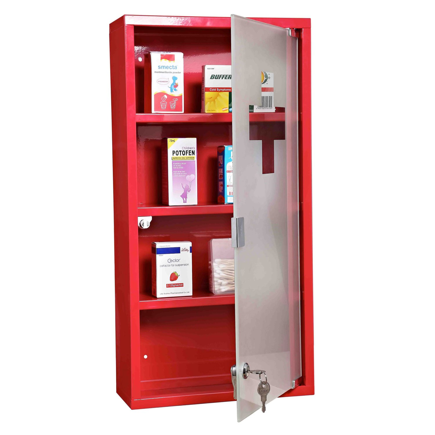 Homcom Red Steel Wall Mounted Medicine Cabinet With 3 Shelves + Security  Glass Door Lockable 60 Cm(H): Amazon.co.uk: Kitchen U0026 Home
