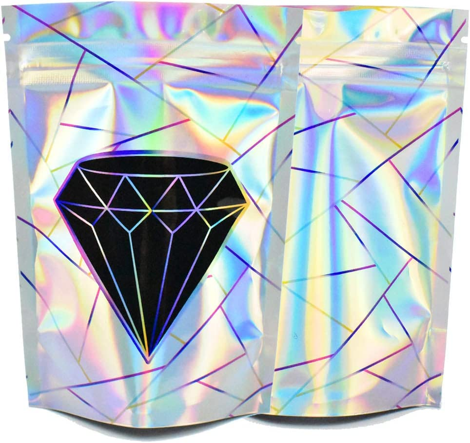 100 Pack Resealable Mylar Bags,3.5 Gram Holographic Smell Proof Bags Packaging with Designs,Stand-up Zip Lock Foil Pouch for Food Grade Storage,3.62x5 Inches,Holographic Silver