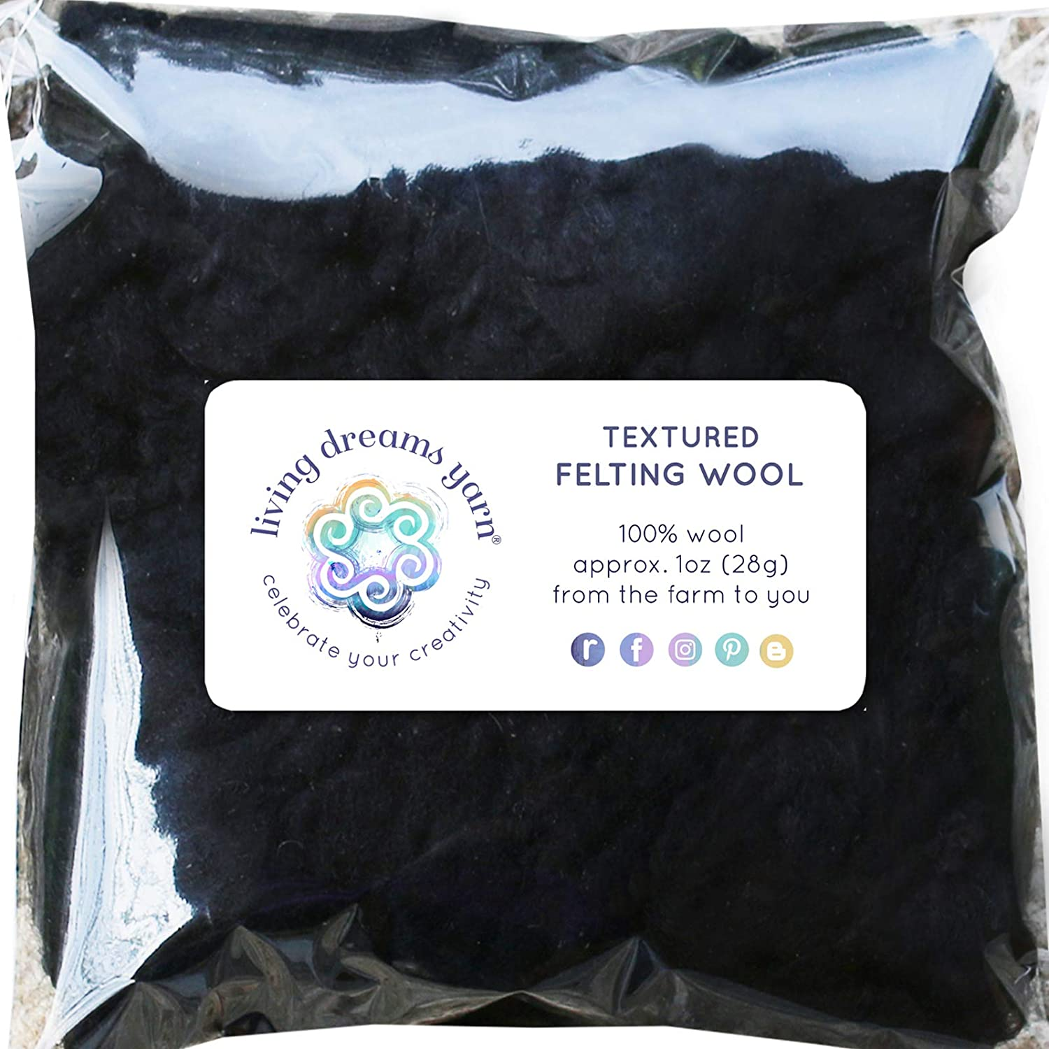 Textured Felting Wool. Corriedale Fiber Includes Curly Locks for Needle Felting, Spinning, Doll Hair and Waldorf Crafts - Obsidian Living Dreams Yarn GBFibWoolLocksObsidian