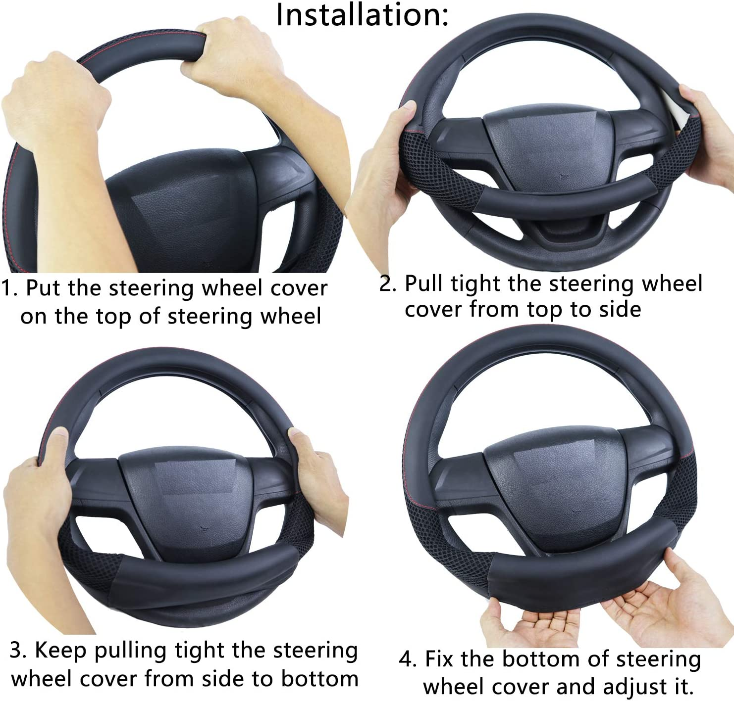 Microfiber Leather Universal Auto Car Steering Wheel Cover 37-38cm//14.5-15inch