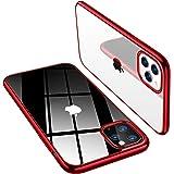 TORRAS iPhone 11 Pro 用ケース 5.8インチ対応 2019 超薄型 超軽量 ソフトTPU 背面クリア+メッキ加工 黄変防止 耐衝撃 SGS認証 レンズ保護 アイフォン11 Pro用カバー (レッド)「Shiny Series」