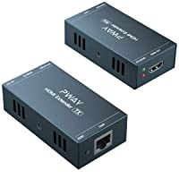 HDMI Extender 165ft Over Single Cat5e/6, Extend 1080P@60Hz Video, Transmit Audio Video Synchronously, Support 3D, POC, EDID