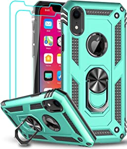 iPhone XR Case with Tempered Glass Screen Protector [2 Pack] for Women Men Teens, LeYi [Military Grade] Defender Protective Phone Case with Magnetic Ring Kickstand for Apple iPhone XR 10 10 XR, Mint