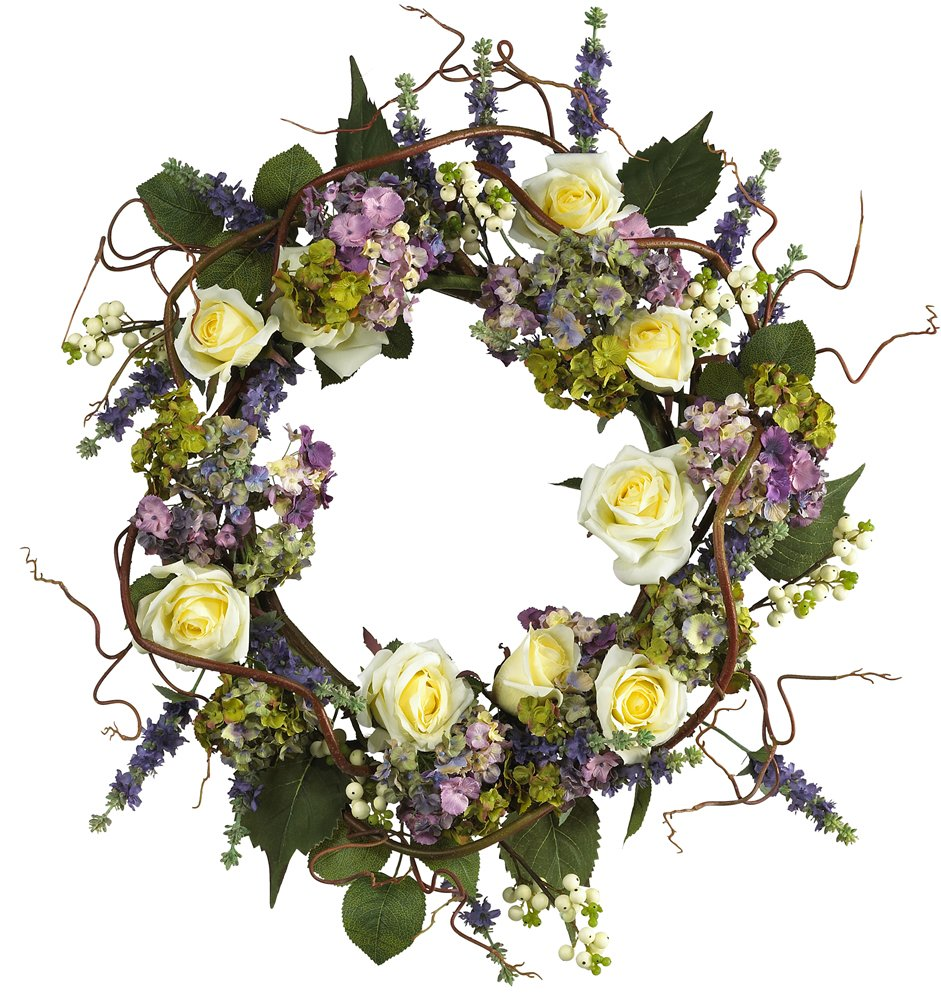 Nearly Natural 4673 Hydrangea Rose Wreath, 24-Inch, Mixed