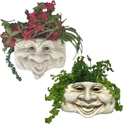 Muggly Uncle Nate and Aunt Minnie Ant. White The Face Statue Tree Patio Wall Planter