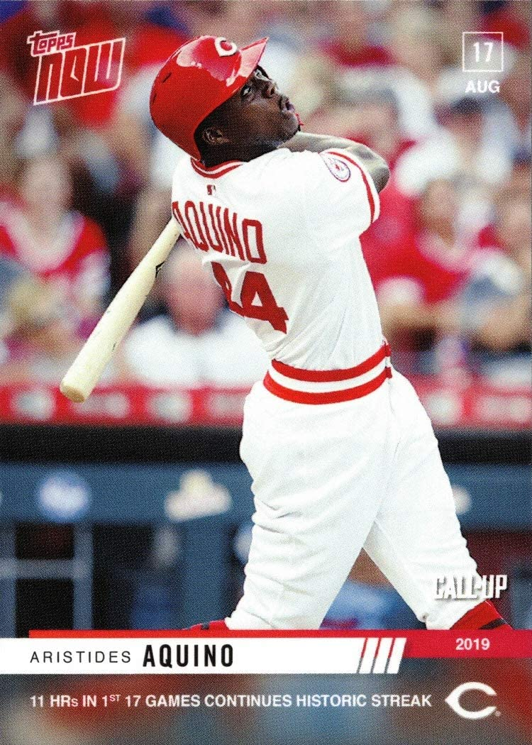 Only 592 made! 2019 Topps Now Moment of the Week Baseball #MOW-19 Aristides Aquino Pre-Rookie Card Reds