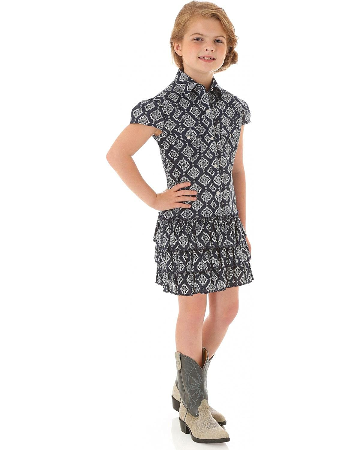 3d9477841d50 Amazon.com: Wrangler Girls' Bandana Print Ruffled Shirt Dress Blue  XX-Large: Clothing