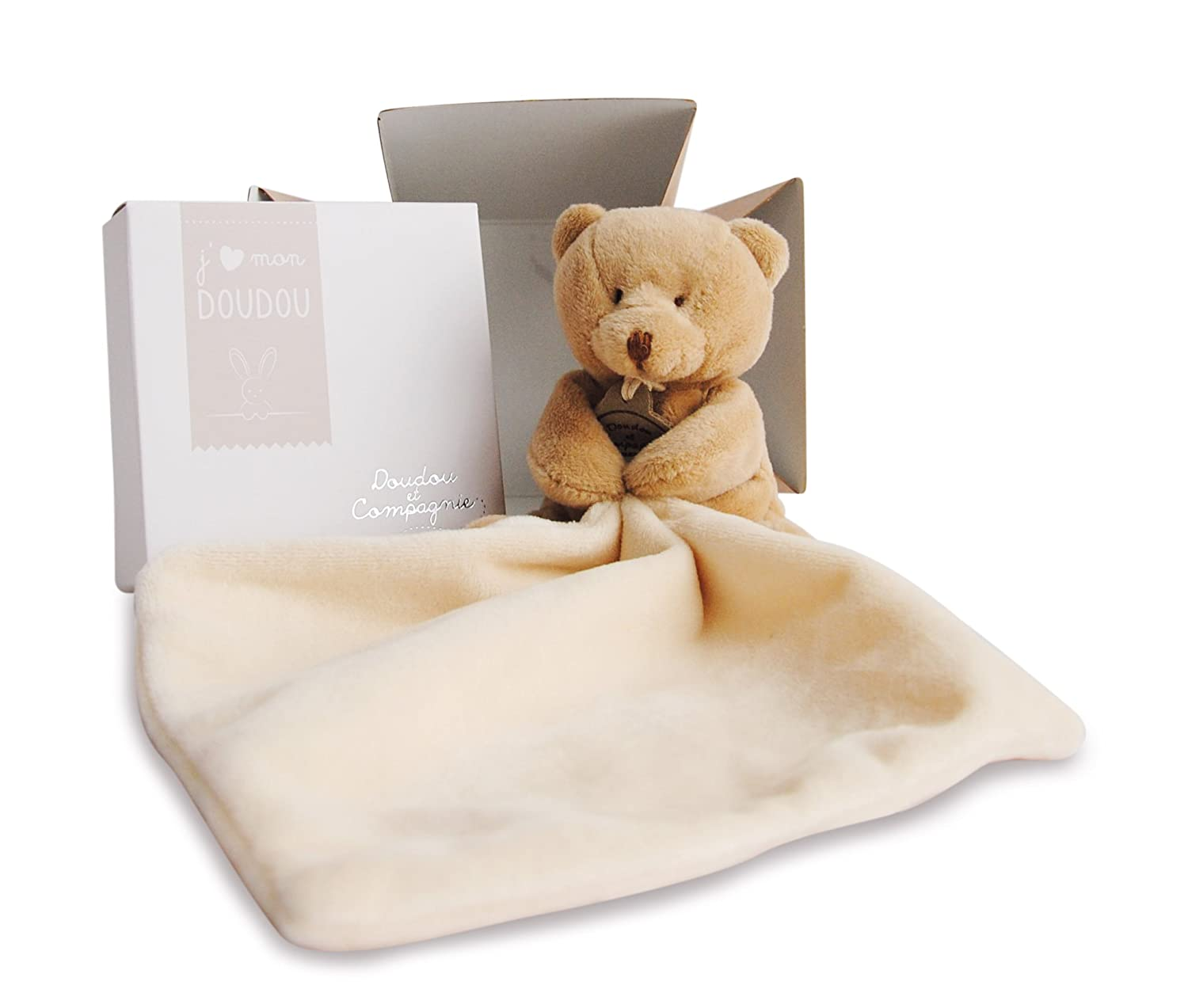 Doudou et Compagnie 10 cm Natural Bear and Towelling Doudou with Gift Box Shreds 302