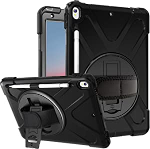 "Azzsy iPad Air 3 Case 10.5"" 2019/iPad Pro 10.5 Case 2017,[360 Degree Swivel Stand/Hand Strap] Heavy Duty Shockproof Rugged Full Body Protective Case for iPad Air (3rd Generation) 10.5"" 2019,Black"