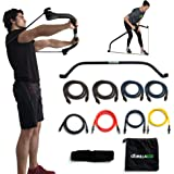 Gorilla Bow Portable Home Gym Resistance Band System Heavy Set, Weightlifting and HIIT Interval Training Kit, Full Body Workout Equipment