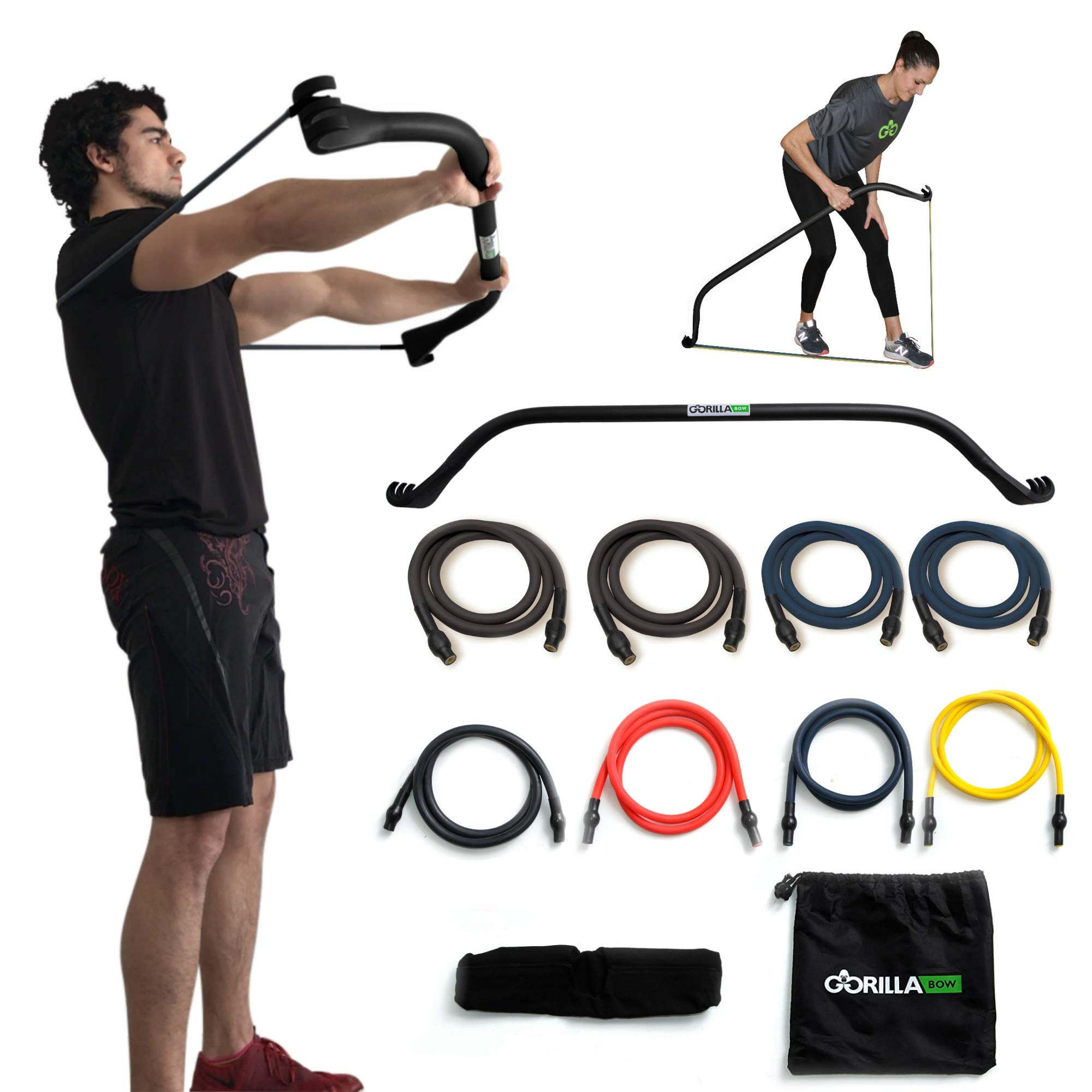 Gorilla Bow Portable Home Gym Resistance Band System Heavy Set, Weightlifting and HIIT Interval Training Kit, Full Body Workout Equipment (Heavy Black) by Gorilla Fitness
