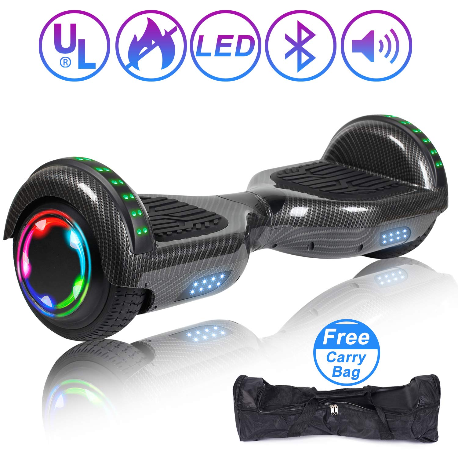 SISIGAD Hoverboard Self Balancing Scooter 6.5'' Two-Wheel Self Balancing Hoverboard with Bluetooth Speaker and LED Lights Electric Scooter for Adult Kids Gift UL 2272 Certified - Carbon Black
