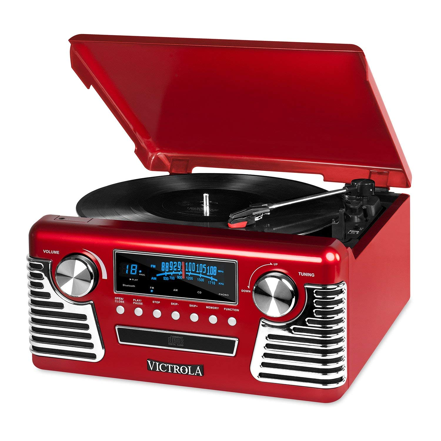 Victrola 50's Retro 3-Speed Bluetooth Turntable with Stereo, CD Player and Speakers, Red (Certified Refurbished)