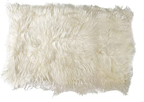 Natural Luxury Soft Premium Long-Haired Quality Durable Thick Lush 100 Icelandic Sheepskin Wool Fur Area Rug, 4 ft x 6 ft, White
