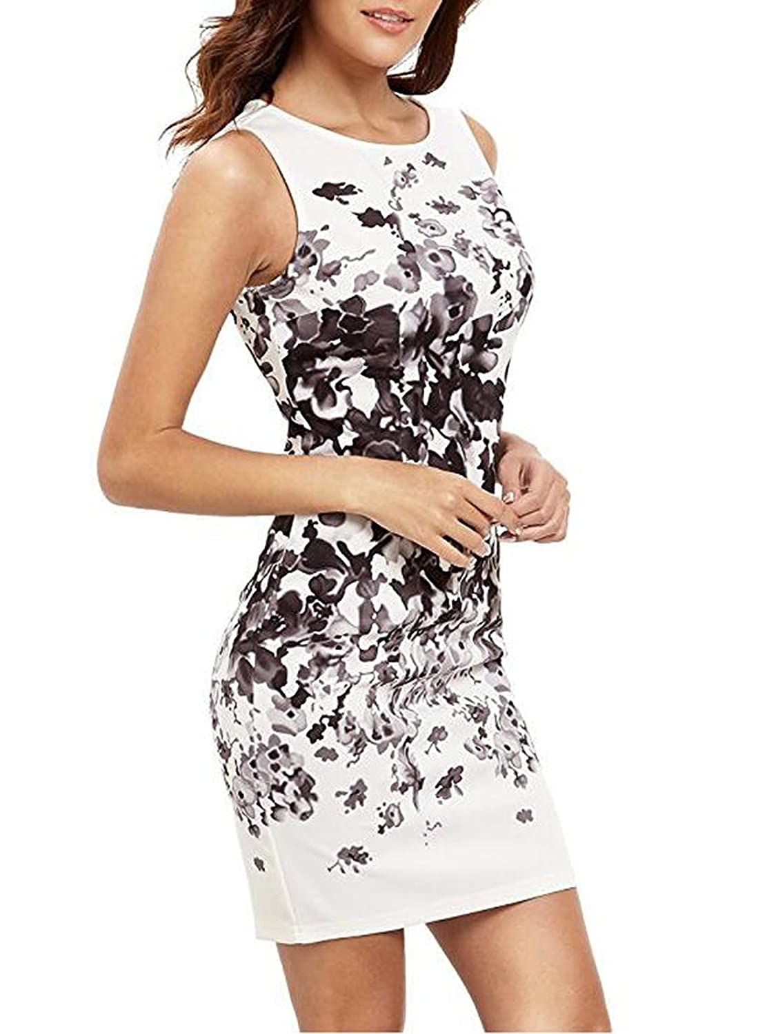 Elevesee Womens Floral Bodycon Cocktail Party Summer Dresses