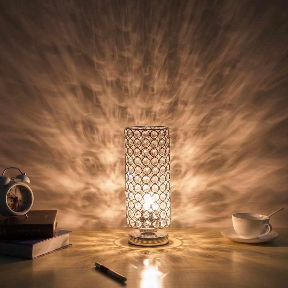 Lampade da Tavolo per Camera da Letto Sala da Pranzo Argento Lampada da Notte Cucina ZEEFO Lampada da Tavolo in Cristallo Soggiorno Lampada da Tavolo Decorativa