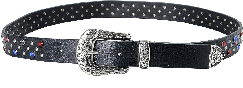 Just Cavalli 100/% Leather Black Embellished Womens Belt US 38 IT 95