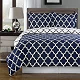 Super Luxurious 100% Egyptian Cotton 3 Piece Meridian Navy TWIN XL (Extra Long) Size Duvet Cover Set with Pillow Sham. Also Includes White Down Alternative Comforter
